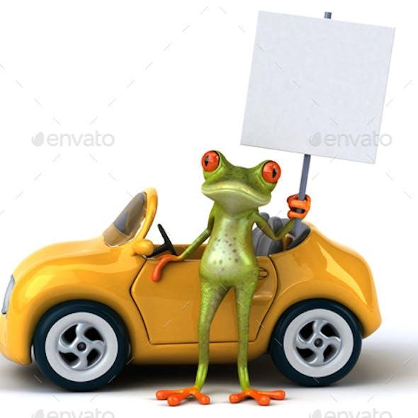 Fun Frog Next to a Car