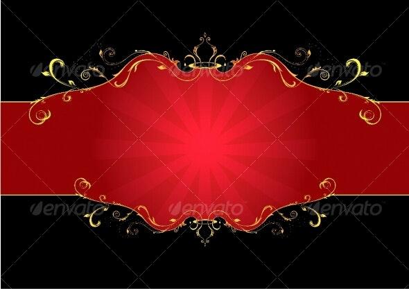 Red floral label - Decorative Symbols Decorative