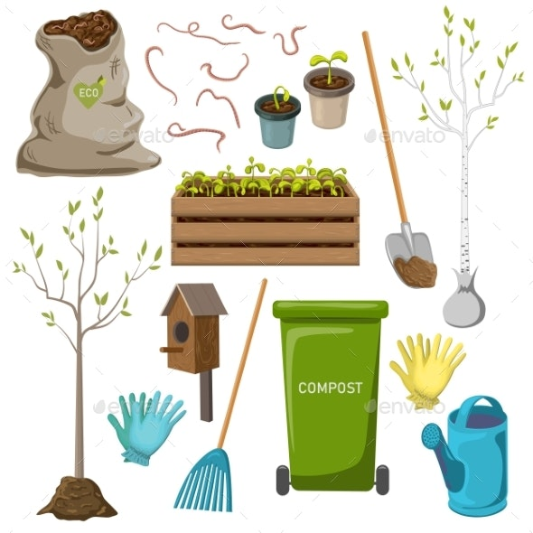 Vector Garden Tools Icon Set Isolated on White - Flowers & Plants Nature