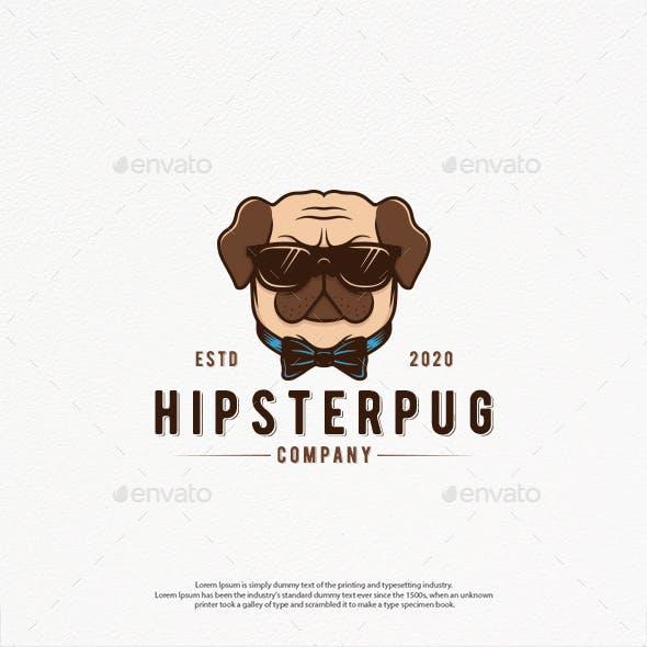 Hipster Dog Logo Template
