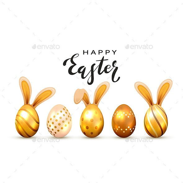 Golden Easter Eggs with Rabbit Ears - Miscellaneous Seasons/Holidays