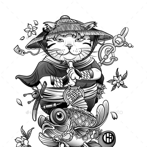 Chinese Cat Monk Meditates Among Flowers