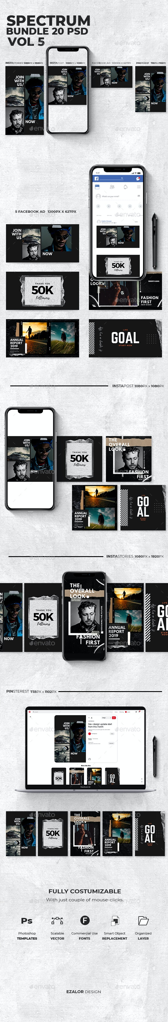 Spectrum Bundle Vol 5 - Social Media Web Elements