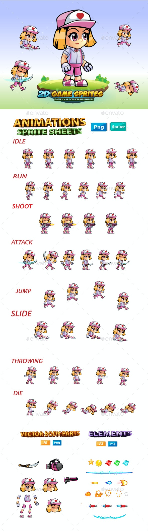 Ailyn 2D Game Character Sprites - Sprites Game Assets