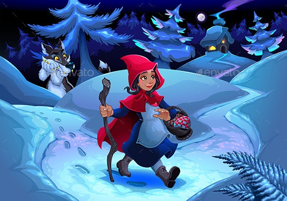 Little Red Riding Hood Walking in the Woods - People Characters