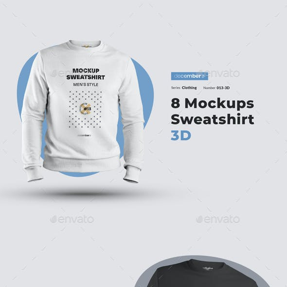 8 Mockups Mens 3D Sweatshirt