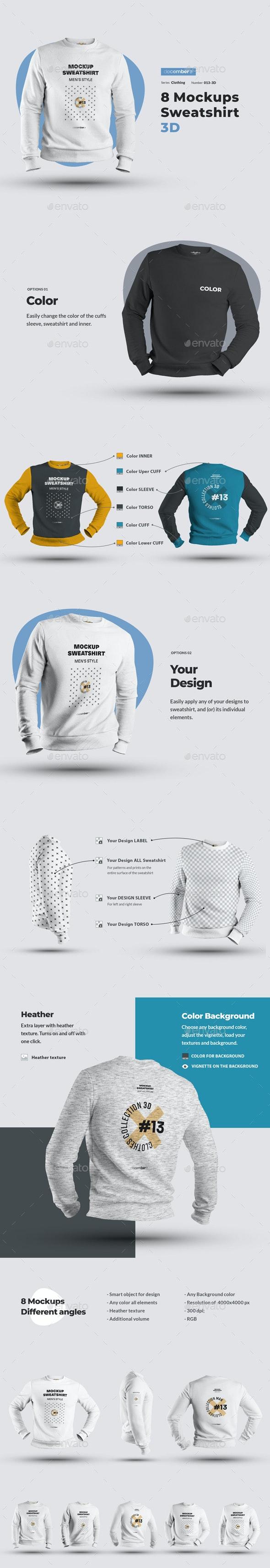 8 Mockups Mens 3D Sweatshirt - Apparel Product Mock-Ups