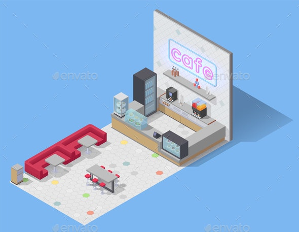 Food Cafe Isometric Composition - Miscellaneous Vectors