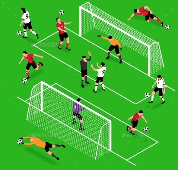 Isometric Football Sport Set - Sports/Activity Conceptual