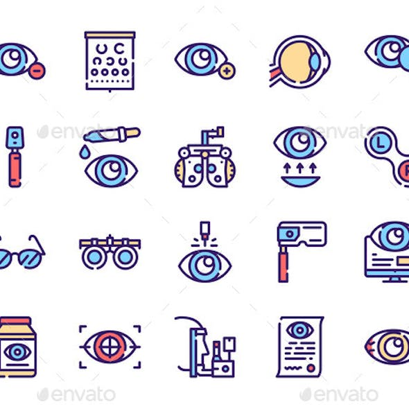 Ophthalmology Color Linear Vector Icons Set