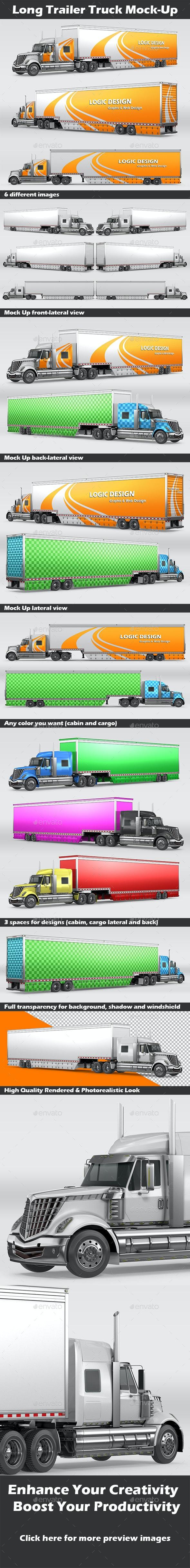 Long Trailer Truck Mock-Up - Vehicle Wraps Print