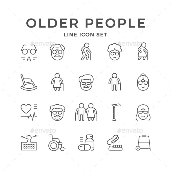 Set Line Icons of Older People - People Characters