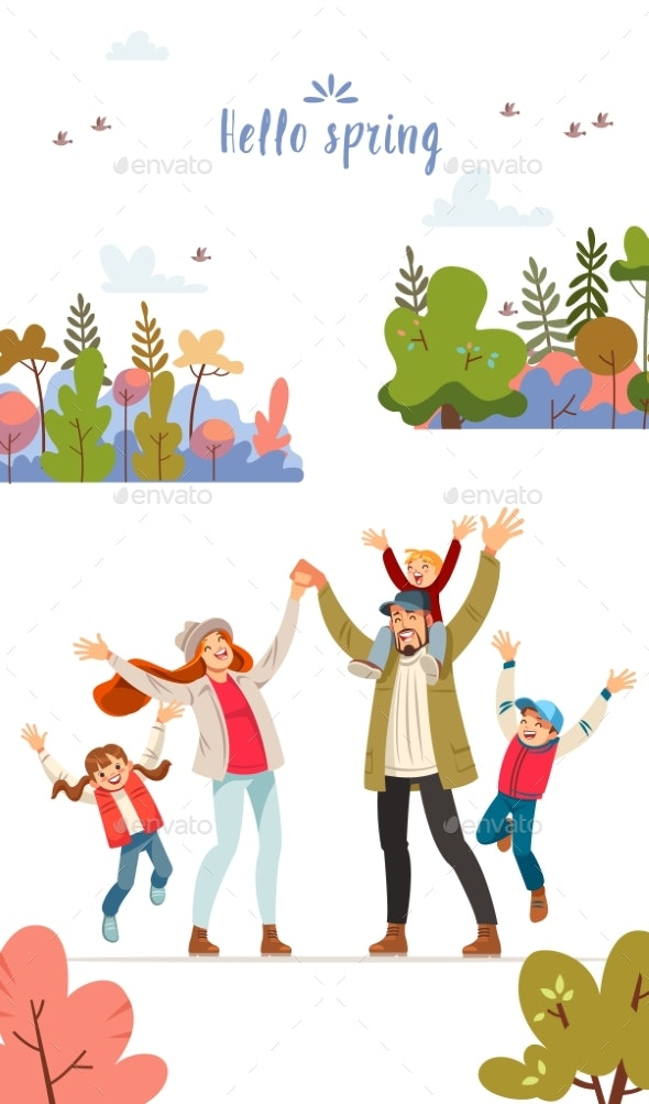 Hello Spring Card with a Happy Family - Landscapes Nature