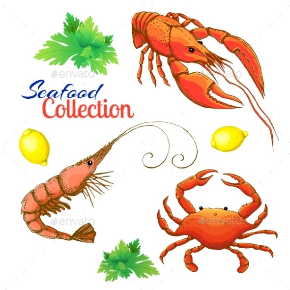 Decorative Seafood Vector Set - Animals Characters