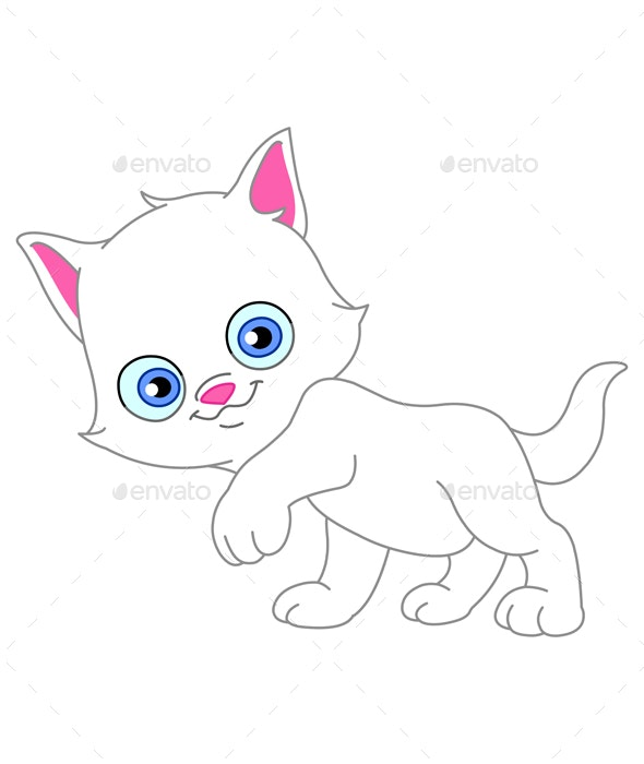 White Kitten - Animals Characters