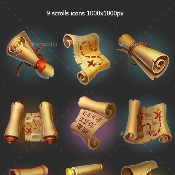Scrolls and Maps Game Icons
