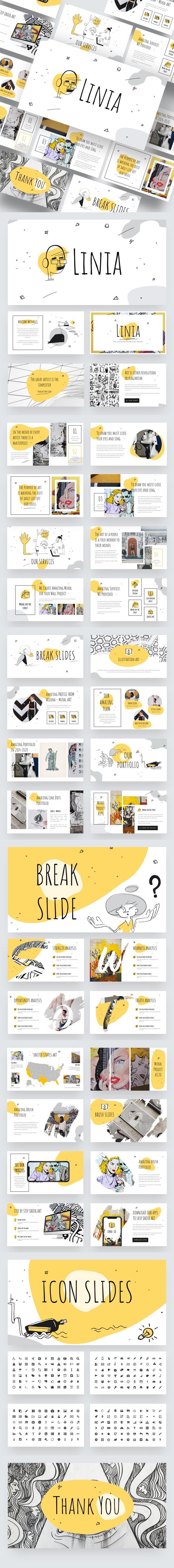 LINIA - Line Illustration Powerpoint Template - Creative PowerPoint Templates