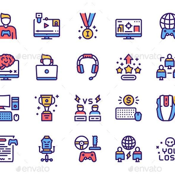 Esport Color Linear Vector Icons Set