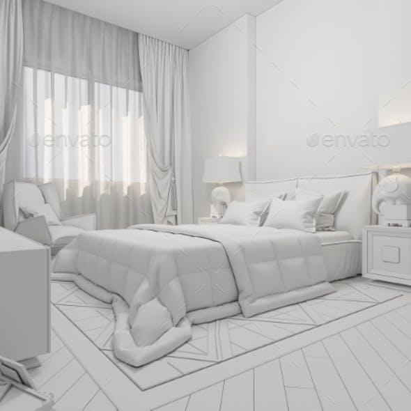 3D Render Interior Design of a Modern Bedroom