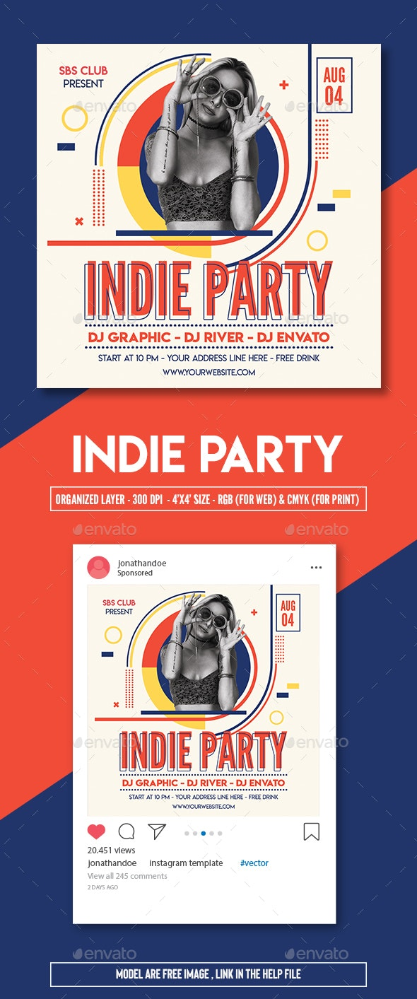 Indie Party Flyer Template - Clubs & Parties Events