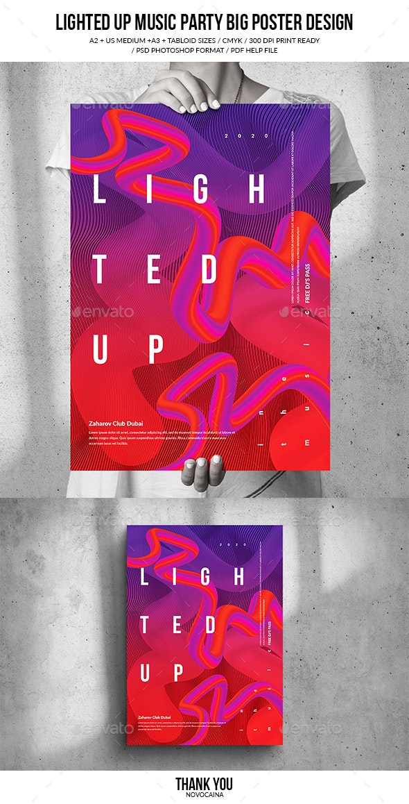 Lighted Up Music Party Big Poster Design - Clubs & Parties Events