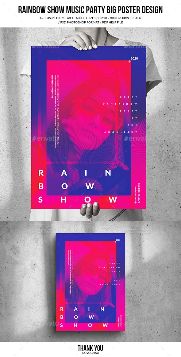 Rainbow Show Music Party Big Poster Design - Clubs & Parties Events