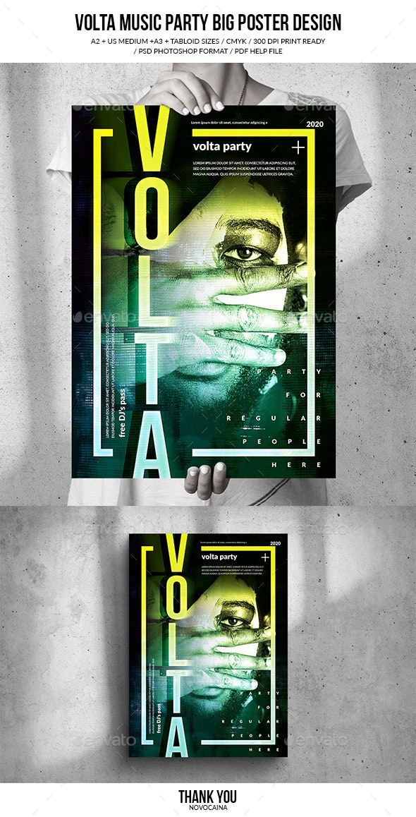 Volta Music Party Big Poster Design - Clubs & Parties Events