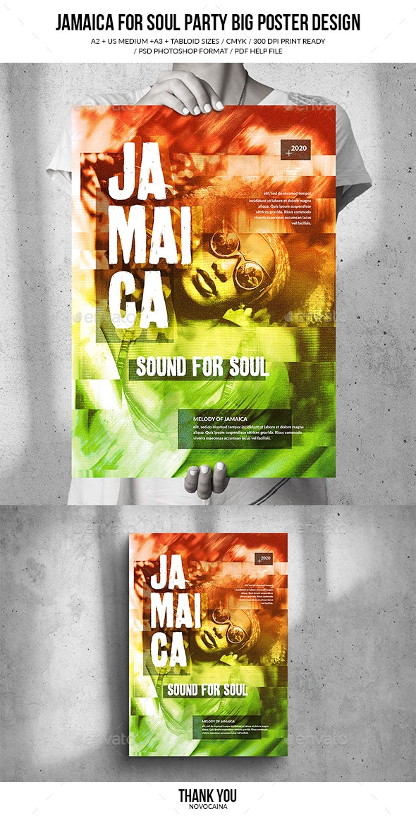 Jamaica Soul Music Party Big Poster Design - Clubs & Parties Events