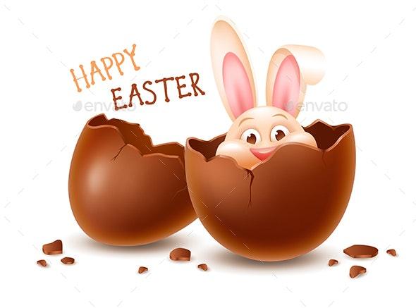 Chocolate Egg With Bunny - Miscellaneous Seasons/Holidays