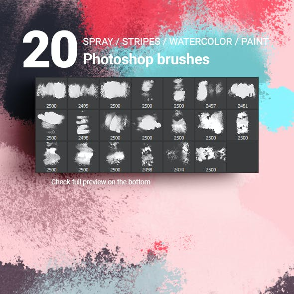 20 Spray Watercolor Stripes Paint Splatters Photoshop Brushes