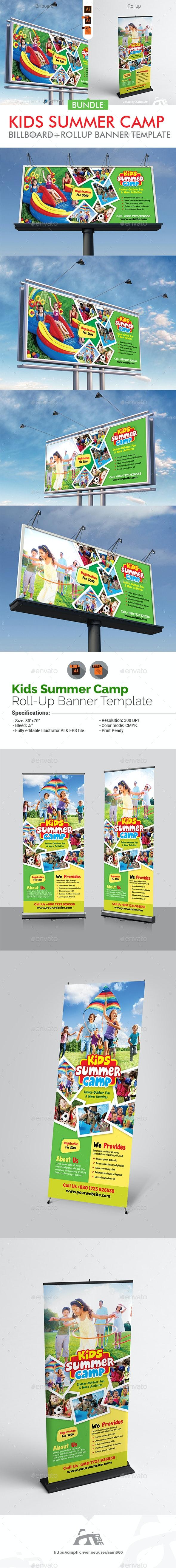 Kids Summer Camp Signage Bundle - Signage Print Templates