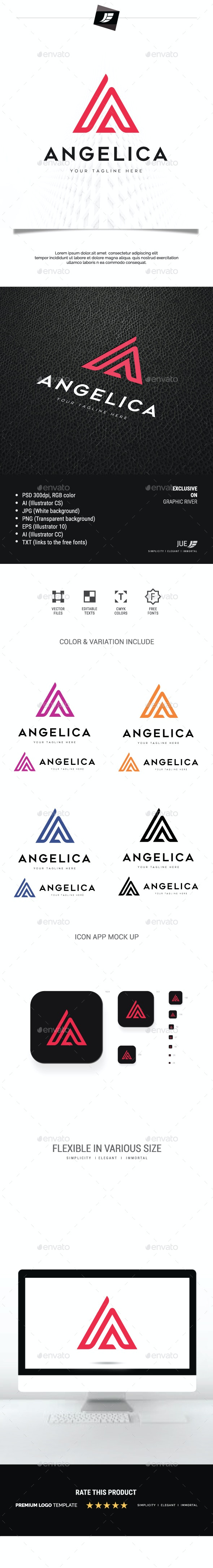 Letter A Angelica Logo - Letters Logo Templates