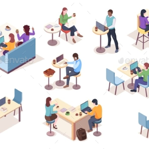 Set of Isolated Vector People Work at Cafe