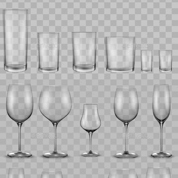 Set of Empty Glass Glasses and Wine Glasses