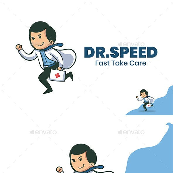Running Doctor Cartoon Mascot Logo