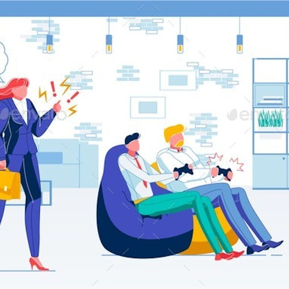 Computer Games in Office Flat Vector Illustration
