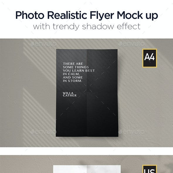 Photo Realistic Flyer Mockup with 2 different size: A4 & US Letter