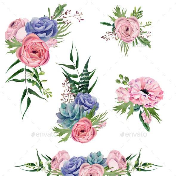 Watercolor Floral Arrangement, Hand Drawn Vector