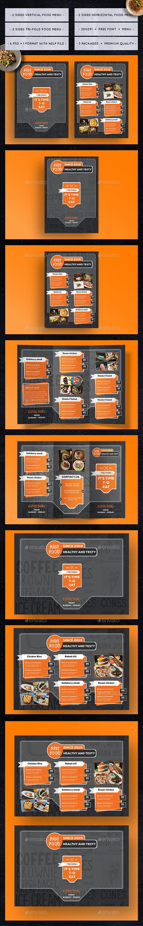 Multiple Premium Fast Food Menus - Food Menus Print Templates