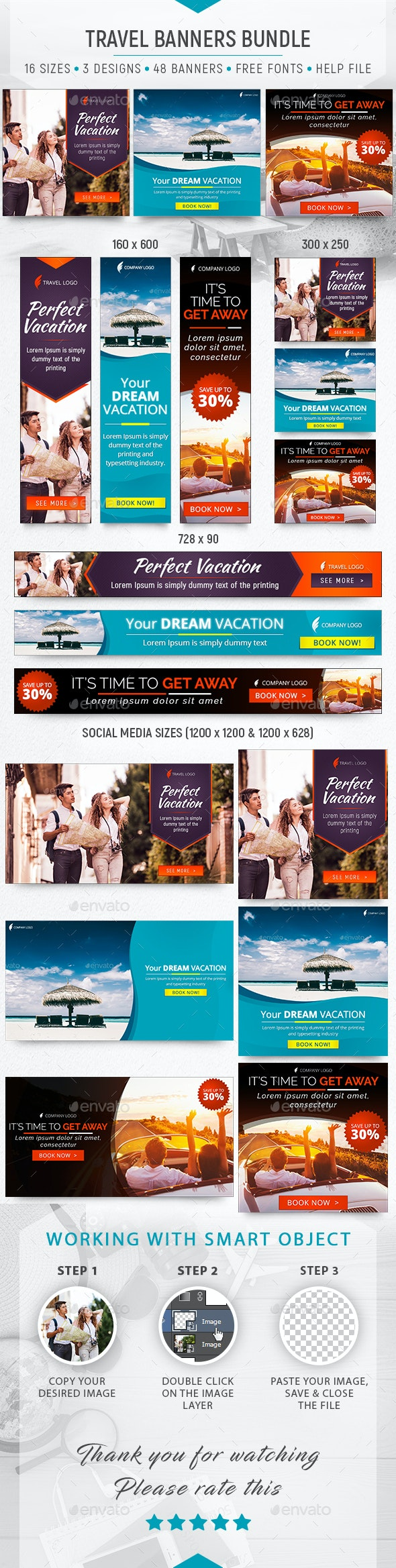 Travel Banners Bundle - Banners & Ads Web Elements