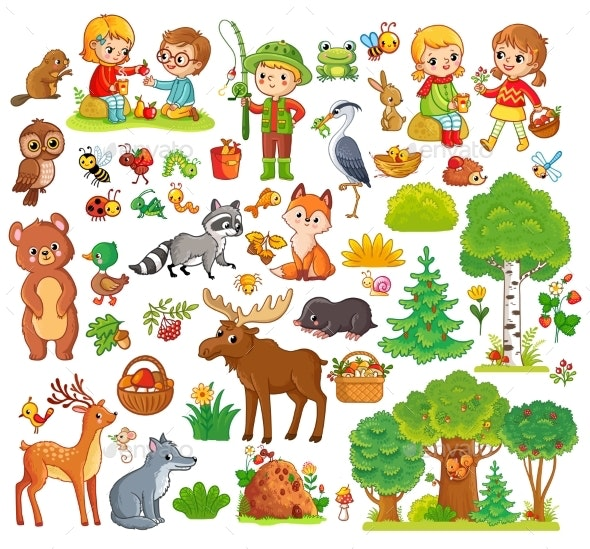 Large Set with Forest Animals and Children - Animals Characters