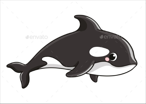 Whale on a White Background - Animals Characters