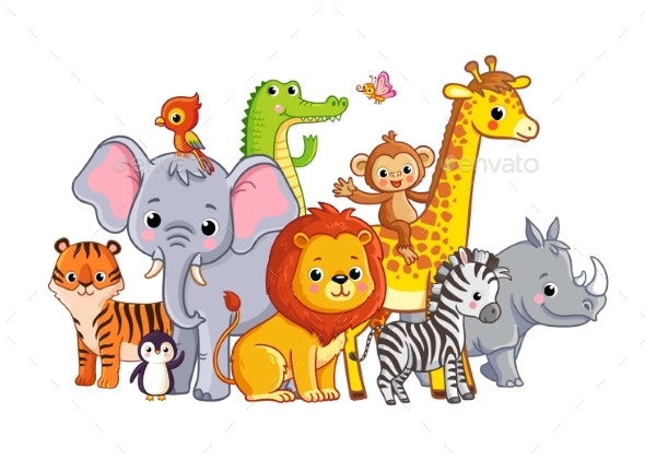 Vector Illustration with African Animals - Animals Characters