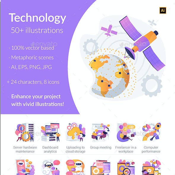 Technology Vector Illustration Kit Vol.1