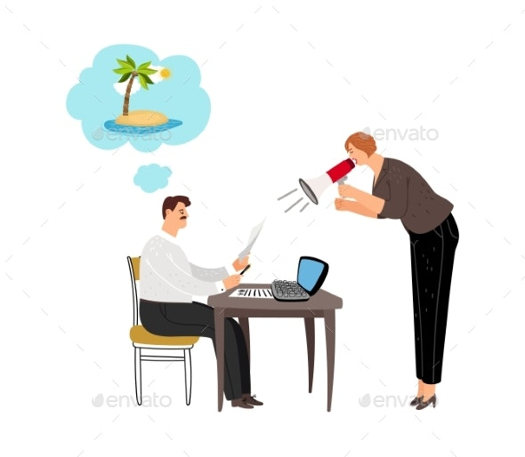 Manager Dreaming About Beach - Concepts Business
