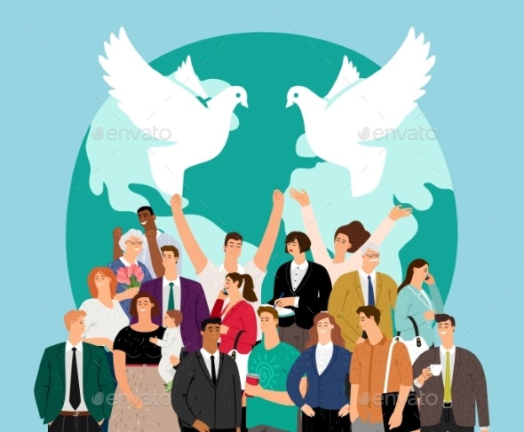World Peace Day - People Characters