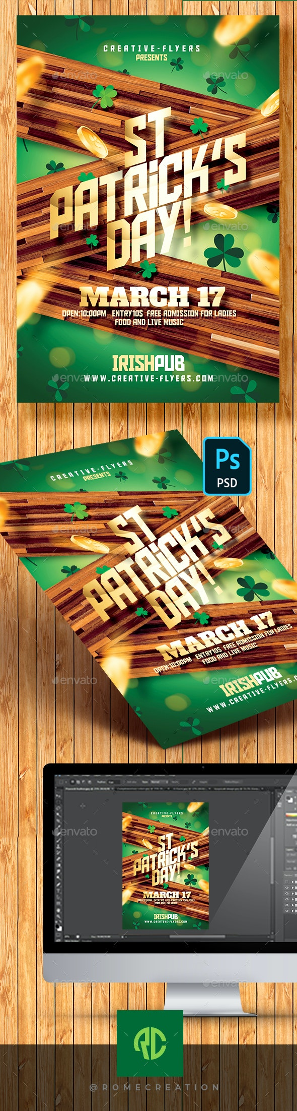 St. Patrick's Day  Flyer Template - Clubs & Parties Events