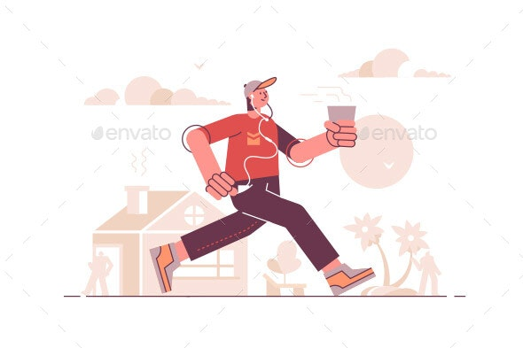 Man Running in Headset and Listening to Music - People Characters