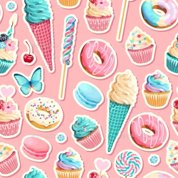 Vector Seamless Pattern with Cupcakes and Donuts - Miscellaneous Vectors