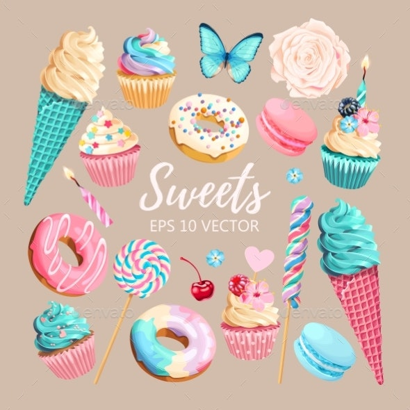 Vector Set of Ice Cream Muffins and Macaroons - Food Objects
